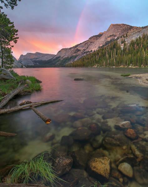 Photograph - Sunset Rainbow At Lake Tenaya, Yosemite by Tim Fitzharris