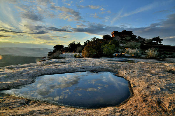 Photograph - Sunset Reflection At Orange Cliffs In Canyonlands by Ray Mathis
