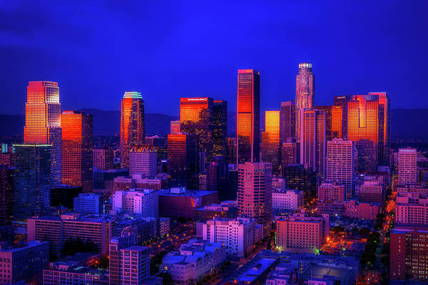 Wall Art - Photograph - Sunset Reflections - Downtown Los Angeles by Mountain Dreams