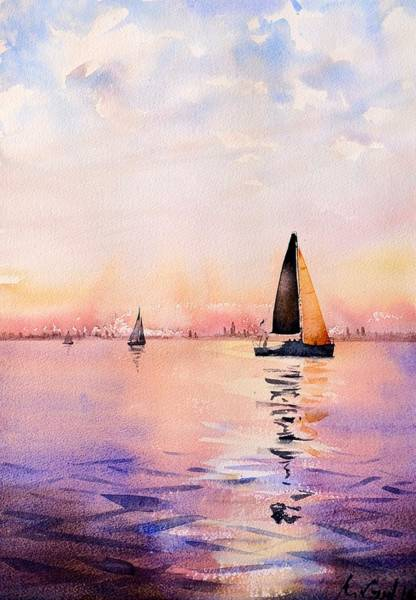 Manhattan Skyline Painting - Sunset Reflections by Max Good
