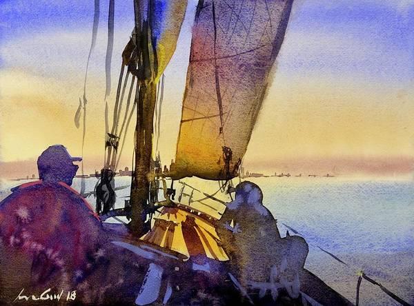 Manhattan Skyline Painting - Sunset Sail by Max Good