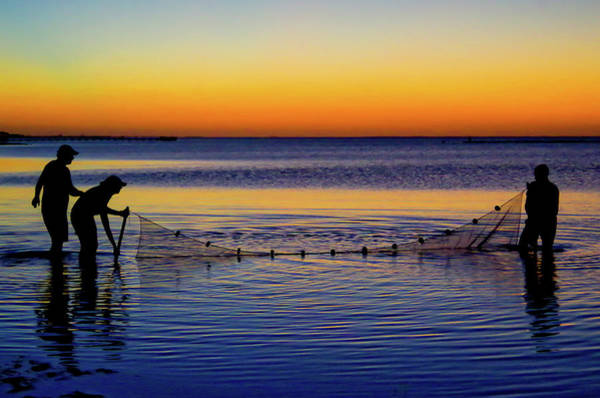 Photograph - Sunset Seining On Copano Bay by Adam Reinhart