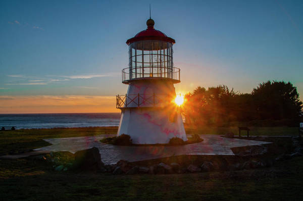 Photograph - Sunset - Shelter Cove Lighthouse by Bill Cannon
