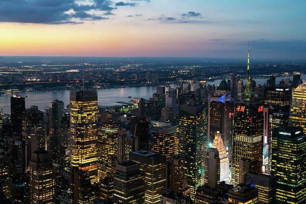 Photograph - Sunset Skyline New York City by Sharon Popek