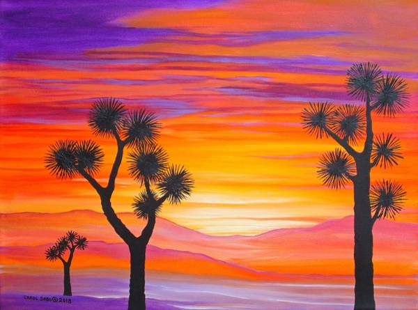 Wall Art - Painting - Sunset Through The Joshua Trees by Carol Sabo