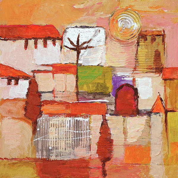 Wall Art - Painting - Sunset Town by Lutz Baar