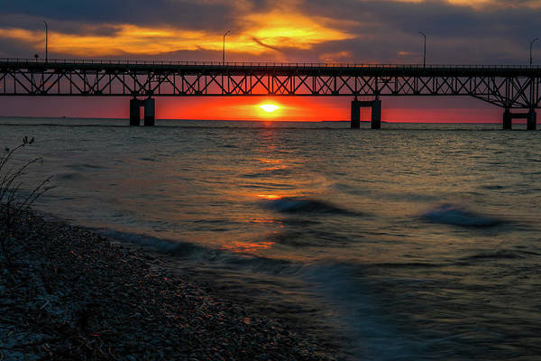 Photograph - Sunset Under Mackinac Bridge by Dan Sproul