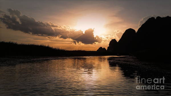 Wall Art - Photograph - Sunset Vietnam Van Long Reserve Nature  by Chuck Kuhn