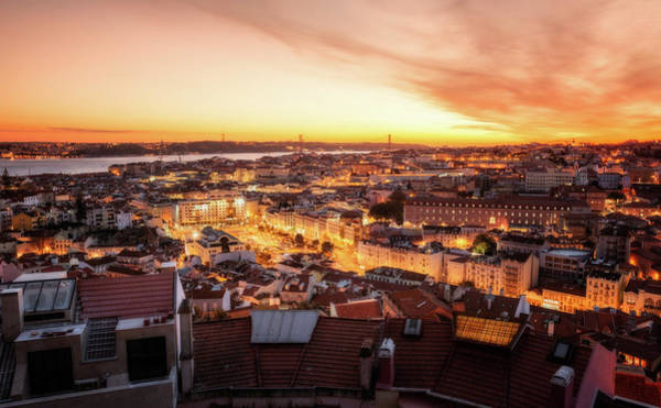 Photograph - Sunset View - Lisbon, Portugal by Nico Trinkhaus