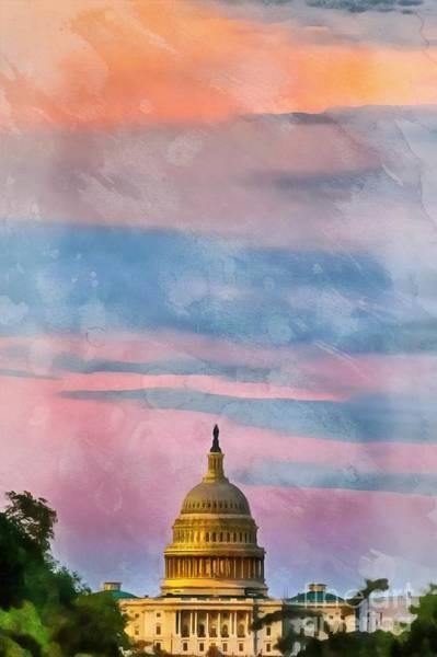 Digital Art - Sunset Washington Dc The Capitol by Edward Fielding