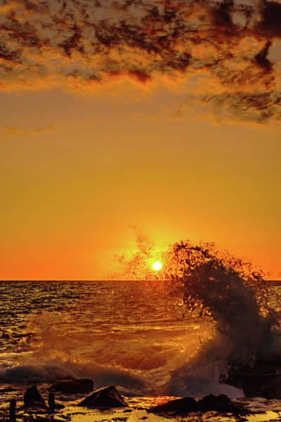 Photograph - Sunset Wave Splash by John Bauer