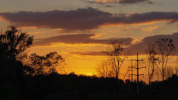 Sunset With Electricity Pylon Art Print