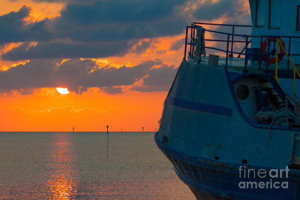 Photograph - Sunset With Ship by James Hennis