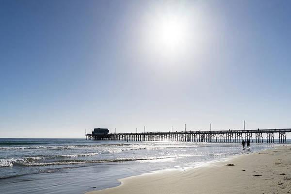 Photograph - Sunshiny Socal Beach Day - Strolling Couple At Newport Beach Pier by Georgia Mizuleva