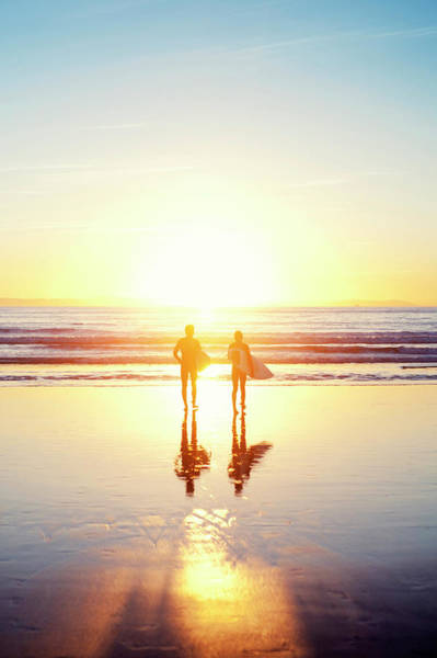 Silhouette Photograph - Sunsoaked Surf Silhouette by Original Photography By Neos Design - Cory Eastman