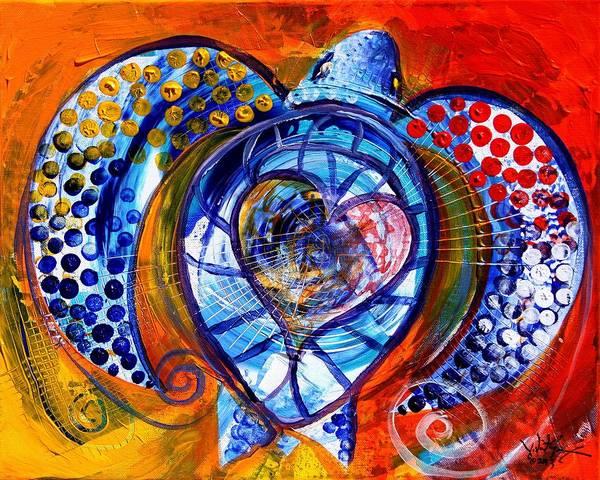 Painting - Sun Turtle, Sun Love, 2 by J Vincent Scarpace