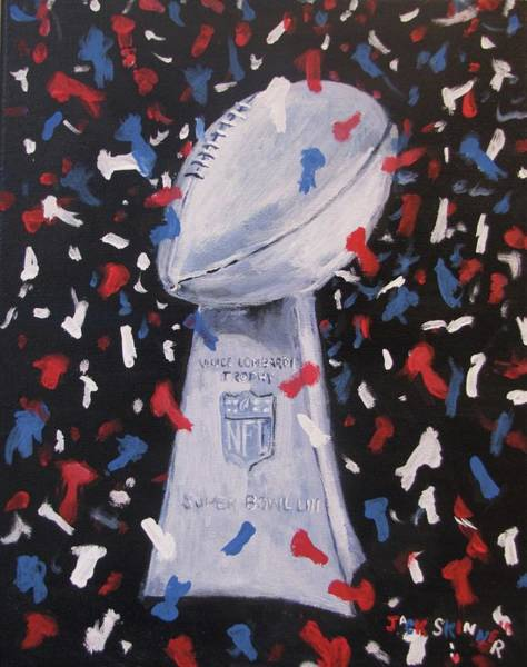 Wall Art - Painting - Super Bowl Trophy With Confetti by Jack Skinner