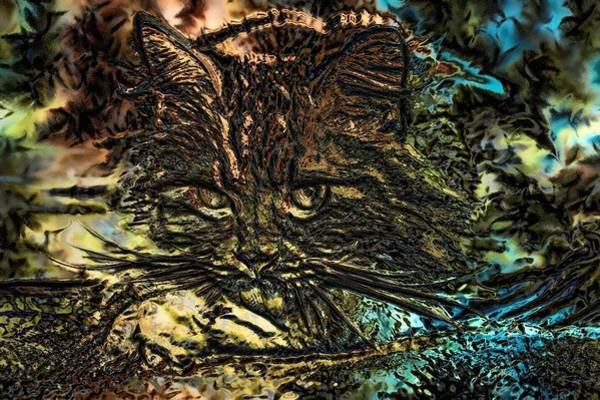 Digital Art - Super Duper Cat Abstract Embossed by Don Northup