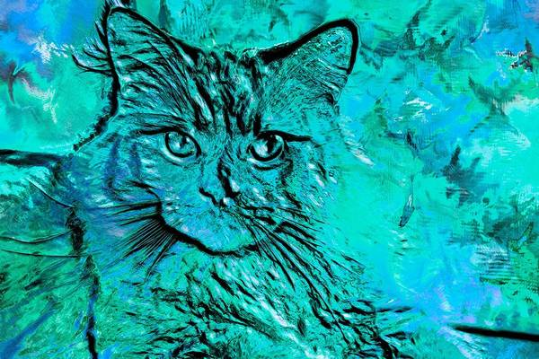Digital Art - Super Duper Cat Blue Glass by Don Northup
