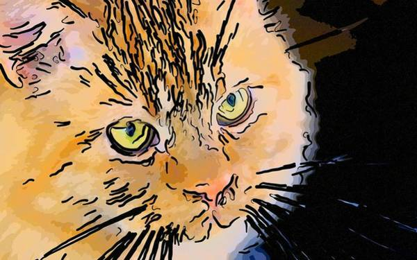 Digital Art - Super Duper Cat Face Line Art by Don Northup