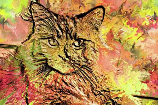 Digital Art - Super Duper Cat Glass by Don Northup