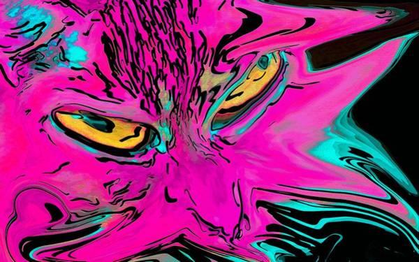 Digital Art - Super Duper Crazy Cat Pink by Don Northup