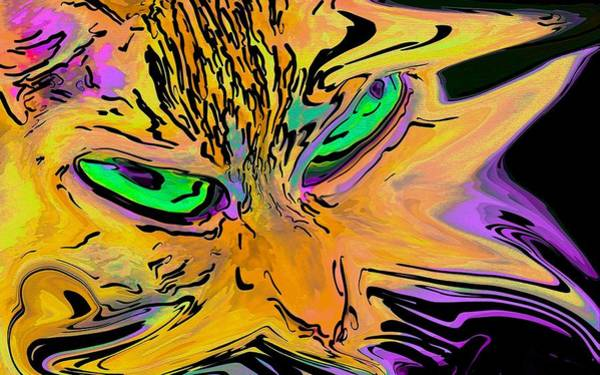 Digital Art - Super Duper Crazy Cat Purple by Don Northup
