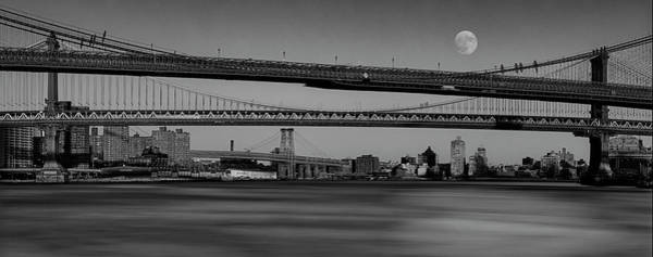 Photograph - Super Moon Over Nyc Bridges Pano Bw by Susan Candelario