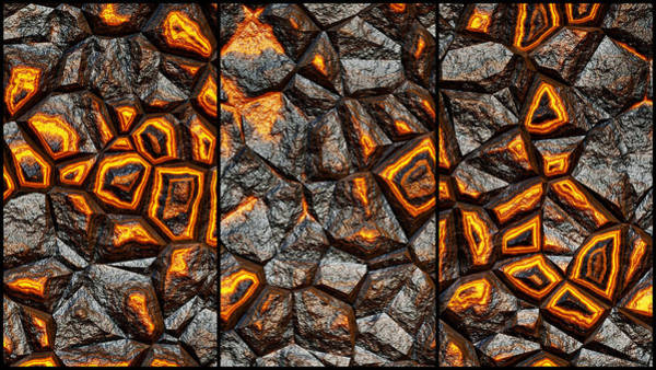 Digital Art - Super Punchy Rock Wall Abstract Triptych by Don Northup