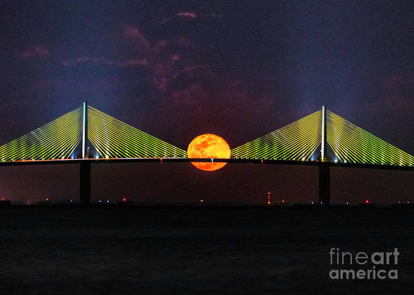 Wall Art - Photograph - Super Worm Moon Rising Behind The Sunshine Skyway Bridge by Damon Powers