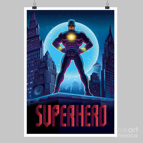 Wall Art - Digital Art - Superhero In Action. Superhero In The by Lana Stem