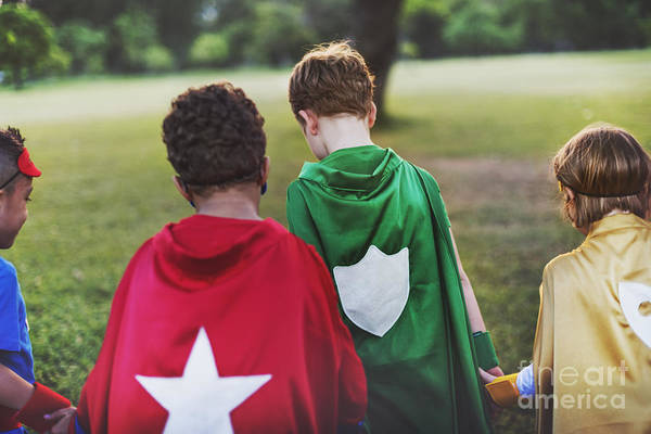 Wall Art - Photograph - Superhero Kids Aspirations Fun Outdoors by Rawpixel.com