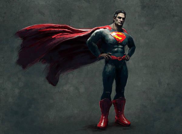 Wall Art - Digital Art - Superman Sketch 2 by Guillem H Pongiluppi