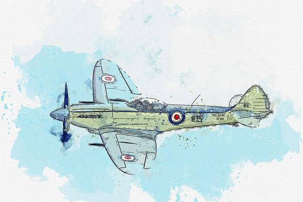 Painting - Supermarine Aviation Works Spitfire Mkxviii Watercolor By Ahmet Asar by Ahmet Asar