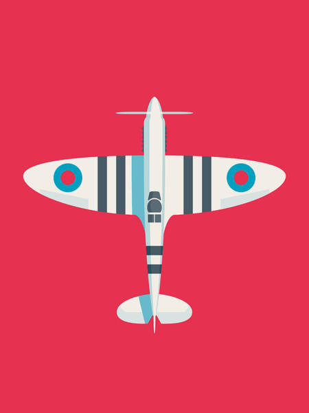 Aviation Wall Art - Digital Art - Supermarine Spitfire Fighter Aircraft - Stripe Crimson by Ivan Krpan