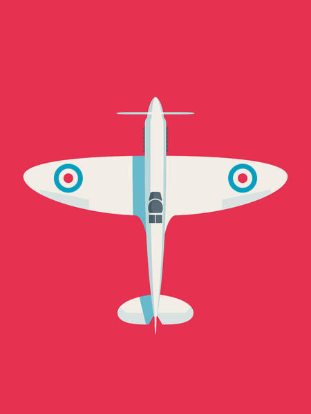 Aviation Wall Art - Digital Art - Supermarine Spitfire Fighter Plane - Crimson by Ivan Krpan