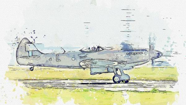 Painting - Supermarine Spitfire Fr Mk.xiv Nh749 Watercolor By Ahmet Asar by Celestial Images