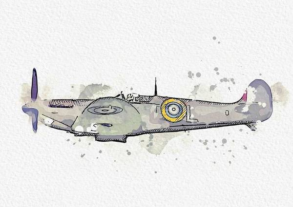 Painting - Supermarine Spitfire Watercolor By Ahmet Asar by Celestial Images