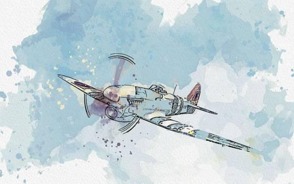 Painting - Supermarine Spitfireair War Thunder Jet Watercolor By Ahmet Asar by Ahmet Asar