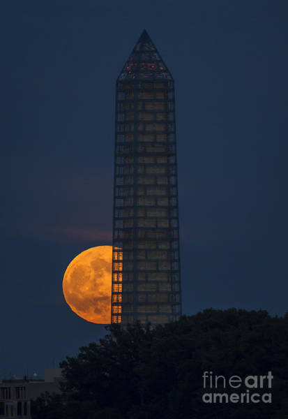 Photograph - Supermoon And Monument by NASA Bill Ingalls