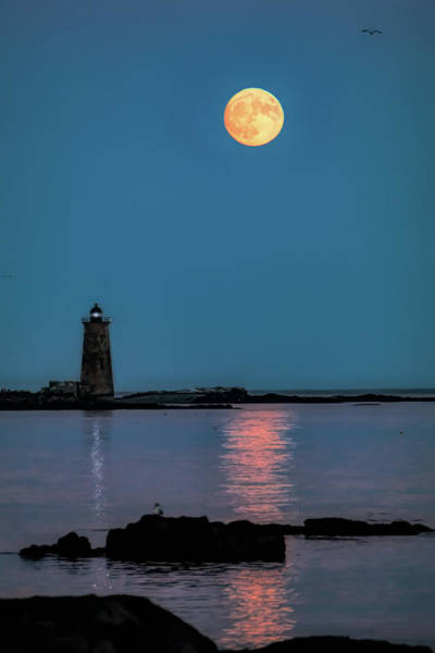 Photograph - Supermoon Rises Over Whaleback A Maine Lighthouse-digital Art by Jeff Folger