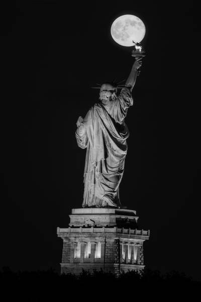 Photograph - Supermoon Statue Of Liberty Bw by Susan Candelario
