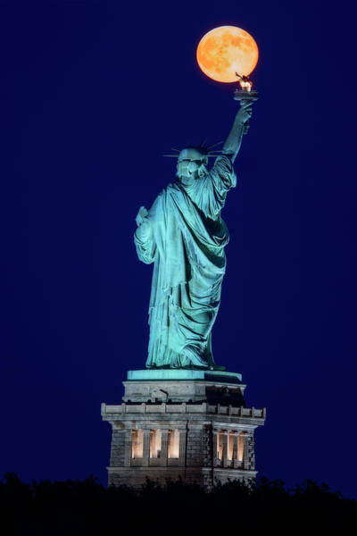 Wall Art - Photograph - Supermoon Statue Of Liberty by Susan Candelario