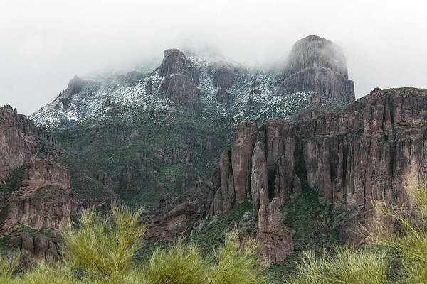 Photograph - Superstition Mountain With Snow 4622-021819 by Tam Ryan