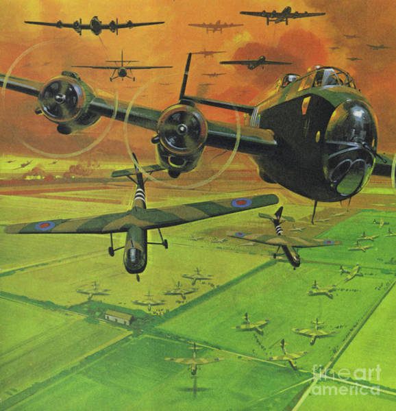 Bomber Painting - Support For The Battle Of Arnhem, 1944  by Angus McBride