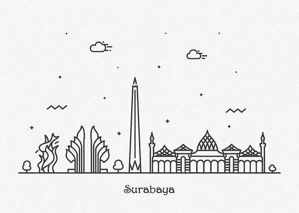 Drawing - Surabaya Cityscape Travel Poster by Inspirowl Design