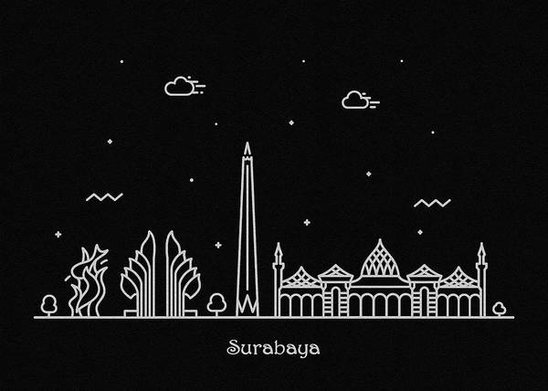 Indonesia Digital Art - Surabaya Skyline Travel Poster by Inspirowl Design