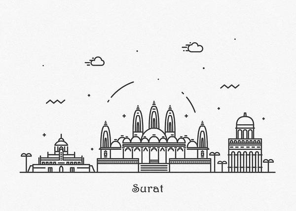 Drawing - Surat Cityscape Travel Poster by Inspirowl Design