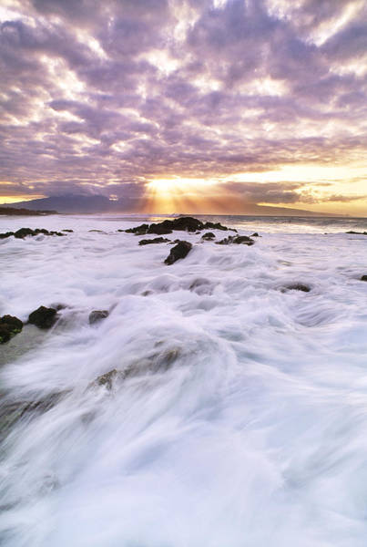 Wall Art - Photograph - Surf At Sunset, Hawaii by Mint Images
