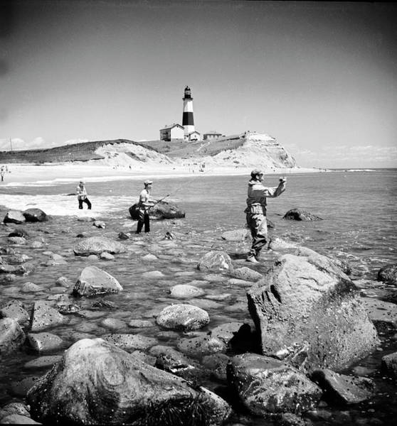 New York State Photograph - Surf Casting Fishermen Working The by Alfred Eisenstaedt